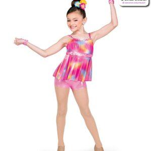 22054  Glitter Tiedye Kids Jazz Dance Shortall