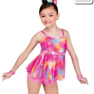 22054  Glitter Tiedye Kids Jazz Dance Shortall A