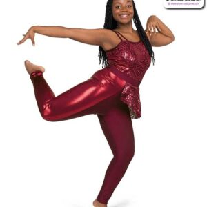 22055  Geometric Embroidered Sequin Mesh Jazz Dance Unitard