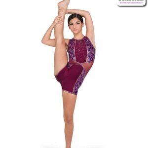 22056  Sequin Pasttern Solid Spandex Acro Dance Shortall