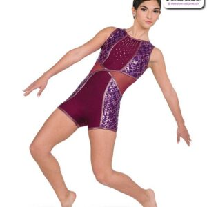 22056  Sequin Pasttern Solid Spandex Acro Dance Shortall A