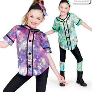 22057  Tiedye Foil Splatter Kids Hip Hop Performance Costume