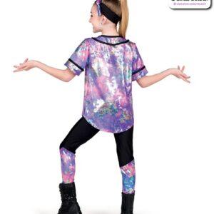 22057  Tiedye Foil Splatter Kids Hip Hop Performance Costume Back