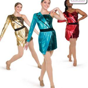 22060  Sequin Slinky Foil Lycra Jazz Dance Dress