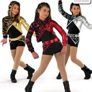 22061  Hologram Geometric Sequin Hip Hop Performance Costume
