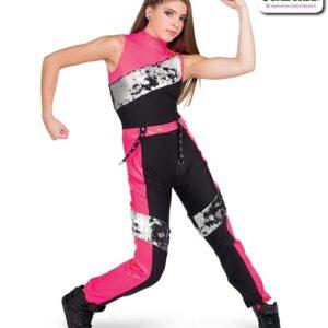 22062  Flip Matte Sequin Hip Hop Performance Costume Hot Pink