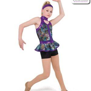 22063  Printed Foil Dot Solid Spandex Jazz Dance Shortall