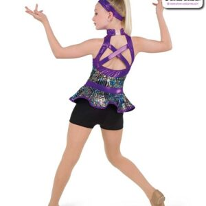 22063  Printed Foil Dot Solid Spandex Jazz Dance Shortall Back