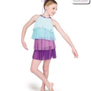 22064  Tiered Mesh Kids Lyrical Dance Dress