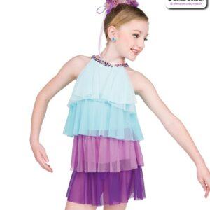 22064  Tiered Mesh Kids Lyrical Dance Dress Light Blue