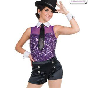 22065  Luxe Sequin Spandex Tap Jazz Dance Leotard B