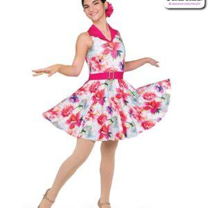 22069  Floral Print Sapndex Jazz Tap Dance Costume