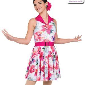 22069  Floral Print Sapndex Jazz Tap Dance Costume A