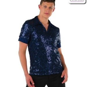22072  Embroidered Sequin Mesh Guy Dance Top Navy