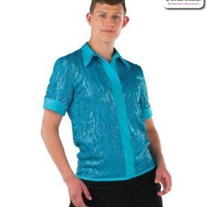 22075  Wavy Sequin Guy Dance Top Turquoise