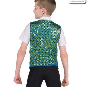 22076  Square Pattern Sequin Guy Dance Top Back