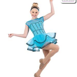 22918  Beaded Spandex Mesh Jazz Dance Costume Turquoise