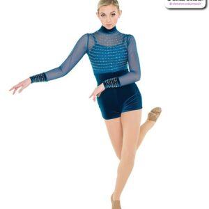 22919  Foil Mesh Acro Dance Unitard
