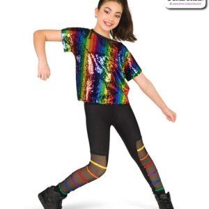 22920Y  Rainbow Striped Sequin Hip Hop Performance Costume