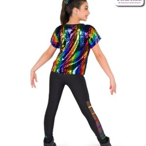 22920Y  Rainbow Striped Sequin Hip Hop Performance Costume Back