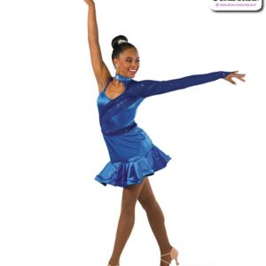 22921  Stretch Satin Glitter Knit Jazz Dance Dress