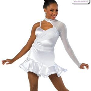 22921  Stretch Satin Glitter Knit Jazz Dance Dress A
