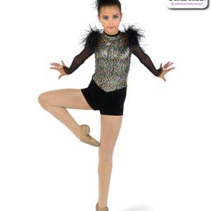 22922  Sequin Mesh Long Sleeve Jazz Dance Shortall