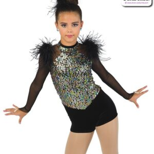22922  Sequin Mesh Long Sleeve Jazz Dance Shortall A