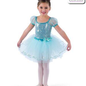 22923  Mirror Sequin Kids Performance Ballet Tutu Aqua