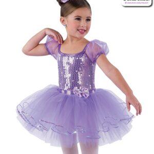 22923  Mirror Sequin Kids Performance Ballet Tutu Lavender