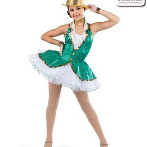 22925  Hologram Foil Dot Solid Spandex Jazz Tap Dance Dress