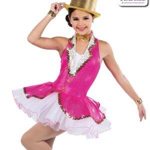 22925  Hologram Foil Dot Solid Spandex Jazz Tap Dance Dress Fuchsia