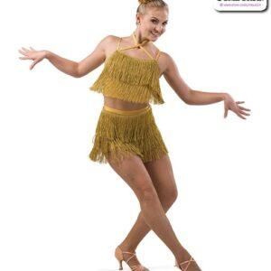 22926  Metallic Fringed Tap Jazz Dance Costume