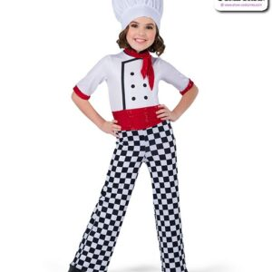 22927  Foil Lycra Checkered Chef Character Dance Costume A
