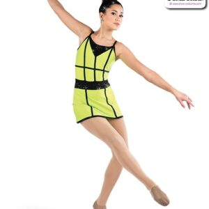 22931  Sequin Spandex Jazz Dance Dress Glo Lime