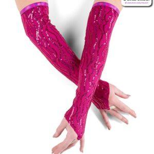 22933M  Wavy Sequin Mitts Dance Costume Accessory Fuchsia
