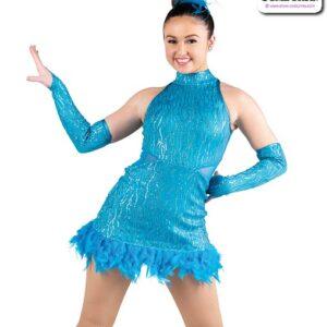 22933  Wavy Sequin Jazz Tap Dance Dress Turquoise