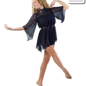 22935  Textured Glimmer Mesh Lyrical Contemporary Dance Costume Navy A