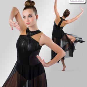 22936  Rhinestoned Foil Lycra Lyrical Dance Dress