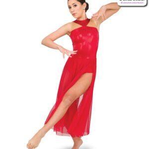22936  Rhinestoned Foil Lycra Lyrical Dance Dress Red