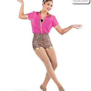 22937  Luxe Sequin Solid Mesh Jazz Dance Shortall