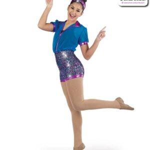 22937  Luxe Sequin Solid Mesh Jazz Dance Shortall Turquoise