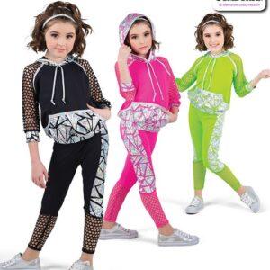22938  Geometric Foil Kids Hip Hop Performance Costume