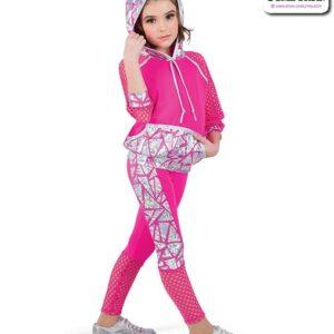 22938  Geometric Foil Kids Hip Hop Performance Costume Fuchsia