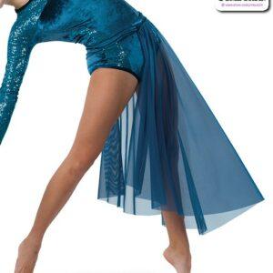 22939 SK  Aysymmetrical Mesh Lyrical Contemporary Dance Side Skirt