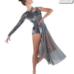 22939  Crushed Velvet Lined Sequin Lyrical Contemporary Dance Leotard Grey Side