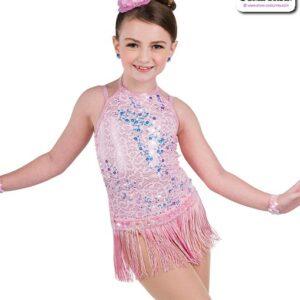 22944F  Sequin Trimmed Kids Tap Jazz Dance Fringe Skirt
