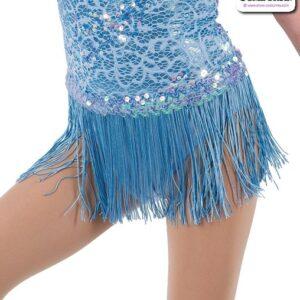 22944F  Sequin Trimmed Kids Tap Jazz Dance Fringe Skirt Light Blue