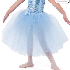 22944LT  Sequin Trimmed Kids Tap Jazz Dance Organza Romantic Tutu Skirt Light Blue