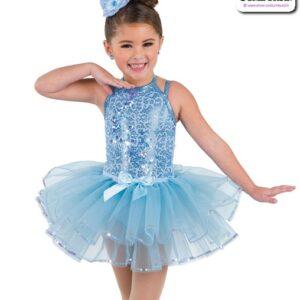 22944T  Sequin Trimmed Kids Tap Jazz Dance Organza Tutu Skirt